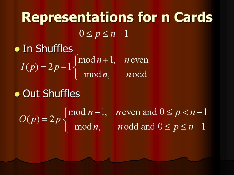 Representations for n Cards