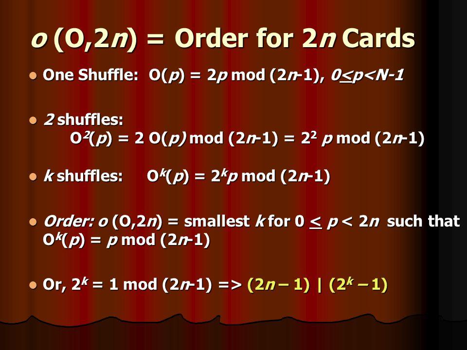 o (O,2n) = Order for 2n Cards