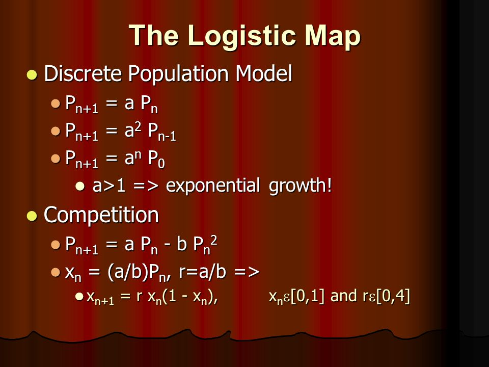 The Logistic Map Discrete Population Model Competition Pn+1 = a Pn