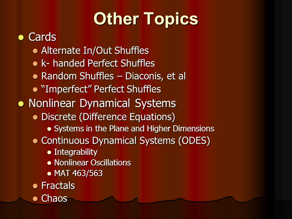 Other Topics Cards Nonlinear Dynamical Systems