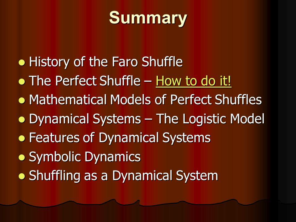 Summary History of the Faro Shuffle