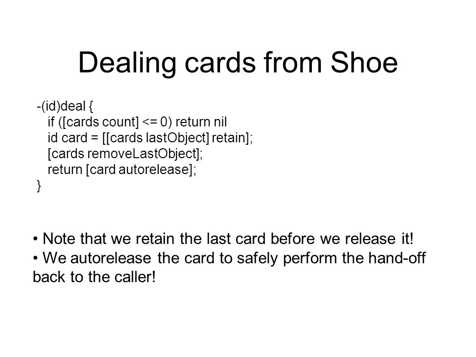 Dealing cards from Shoe