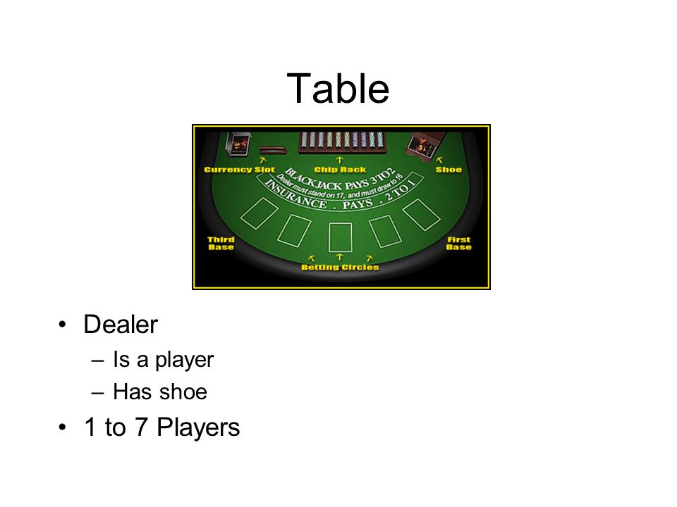 Table Dealer Is a player Has shoe 1 to 7 Players