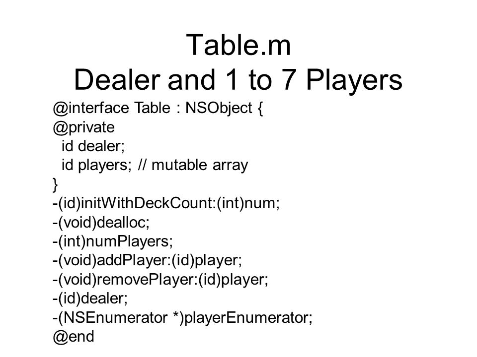 Table.m Dealer and 1 to 7 Players