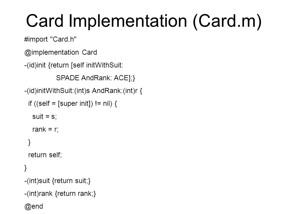 Card Implementation (Card.m)