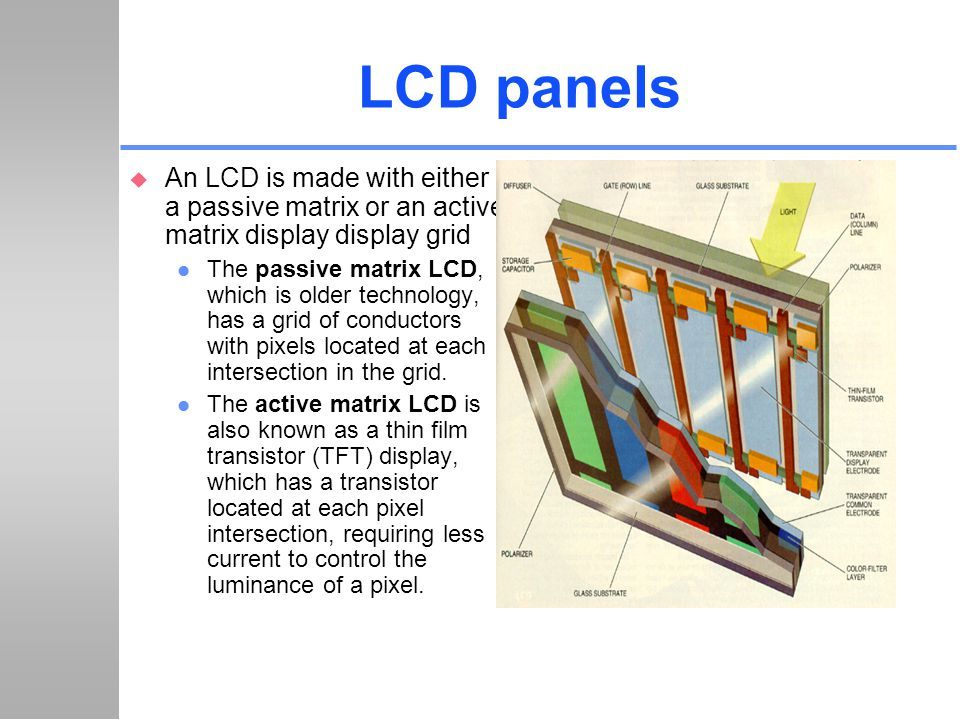 LCD panels An LCD is made with either a passive matrix or an active matrix display display grid.