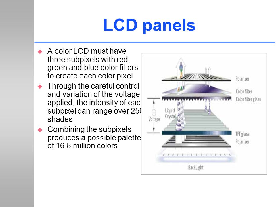 LCD panels A color LCD must have three subpixels with red, green and blue color filters to create each color pixel.