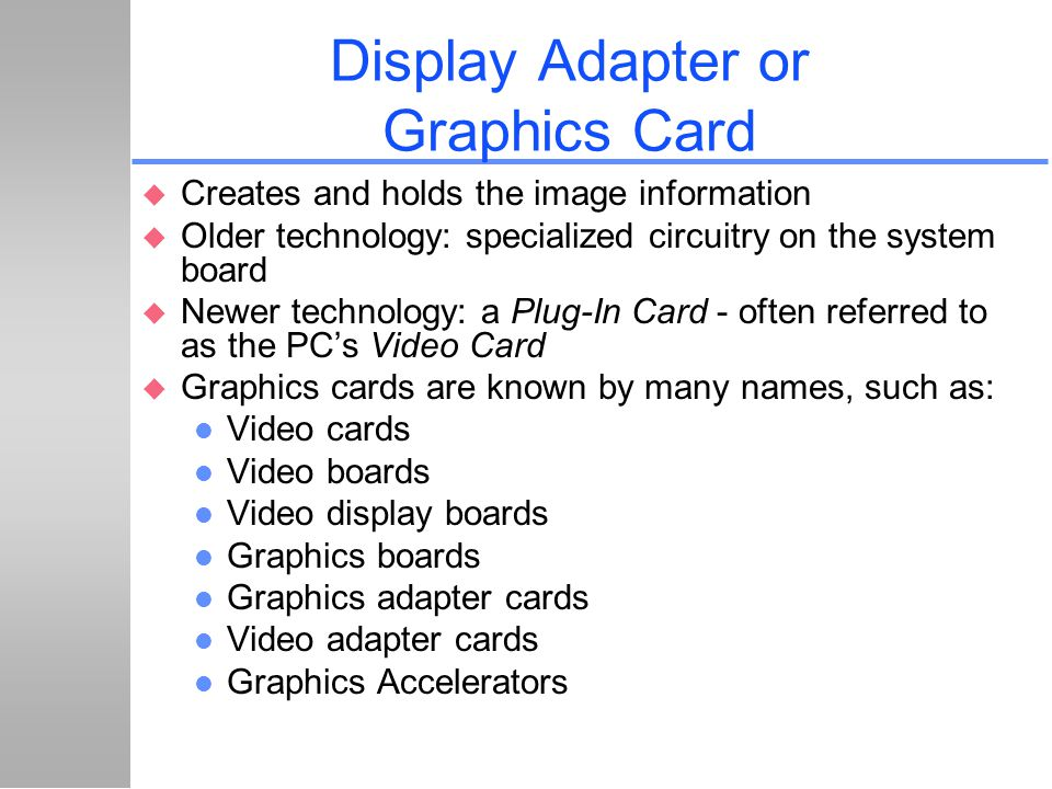 Display Adapter or Graphics Card
