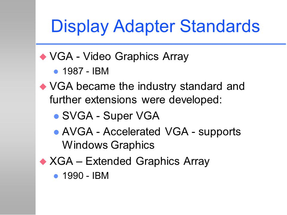 Display Adapter Standards