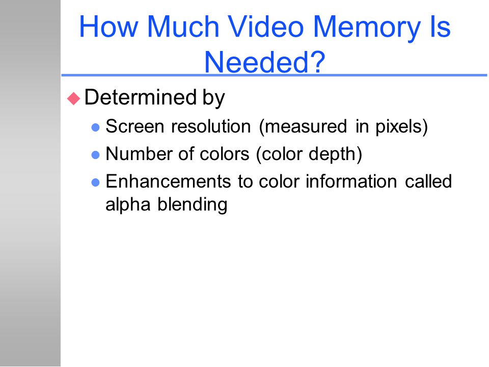 How Much Video Memory Is Needed