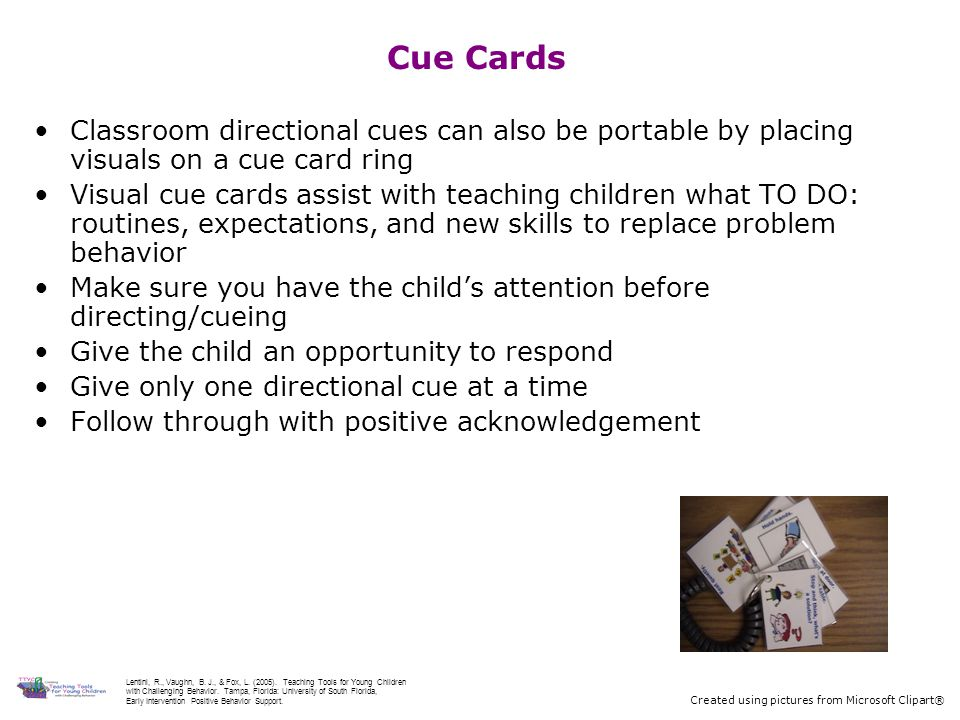 Cue Cards Classroom directional cues can also be portable by placing visuals on a cue card ring.