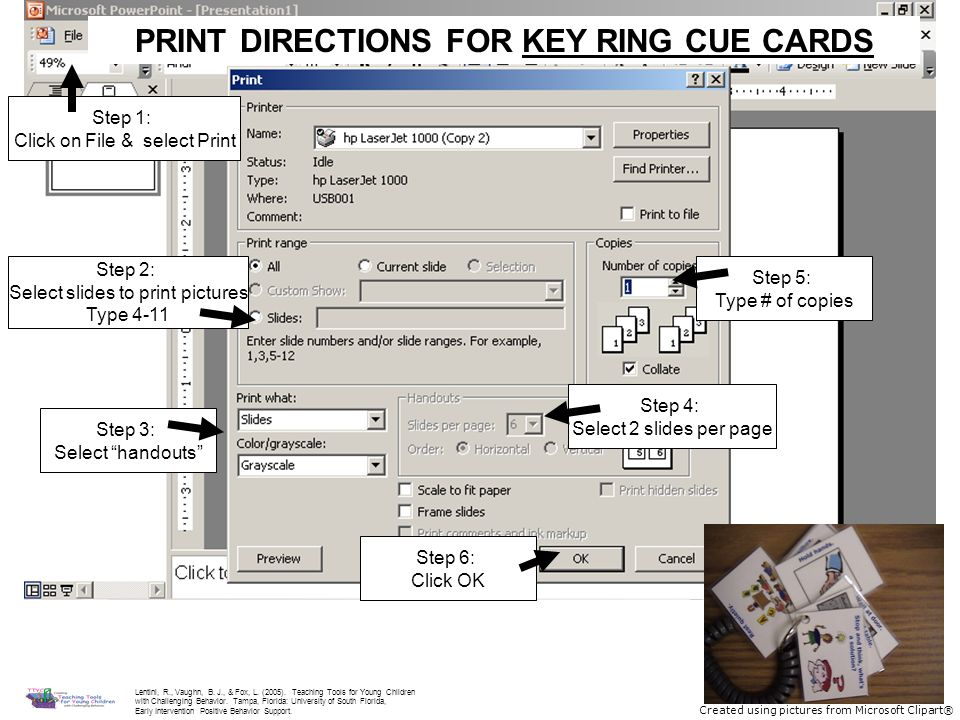 PRINT DIRECTIONS FOR KEY RING CUE CARDS