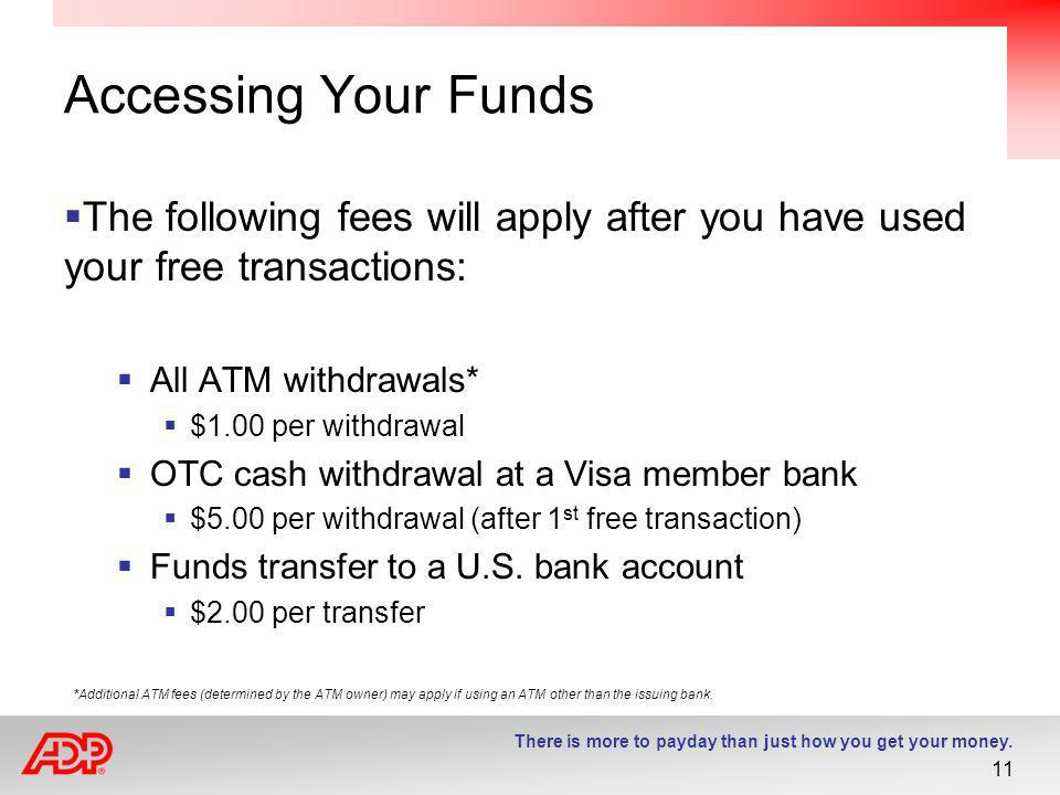 Accessing Your Funds The following fees will apply after you have used your free transactions: All ATM withdrawals*