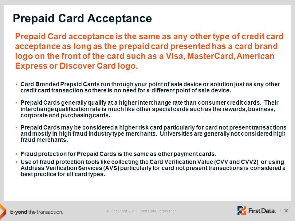 Prepaid Card Acceptance
