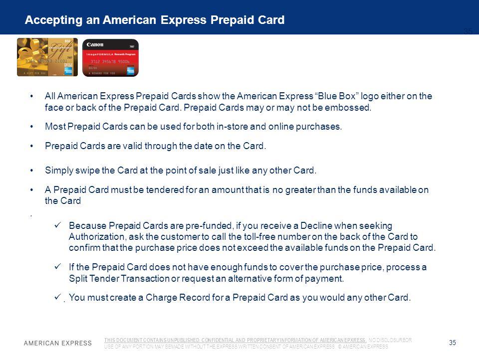 Accepting an American Express Prepaid Card