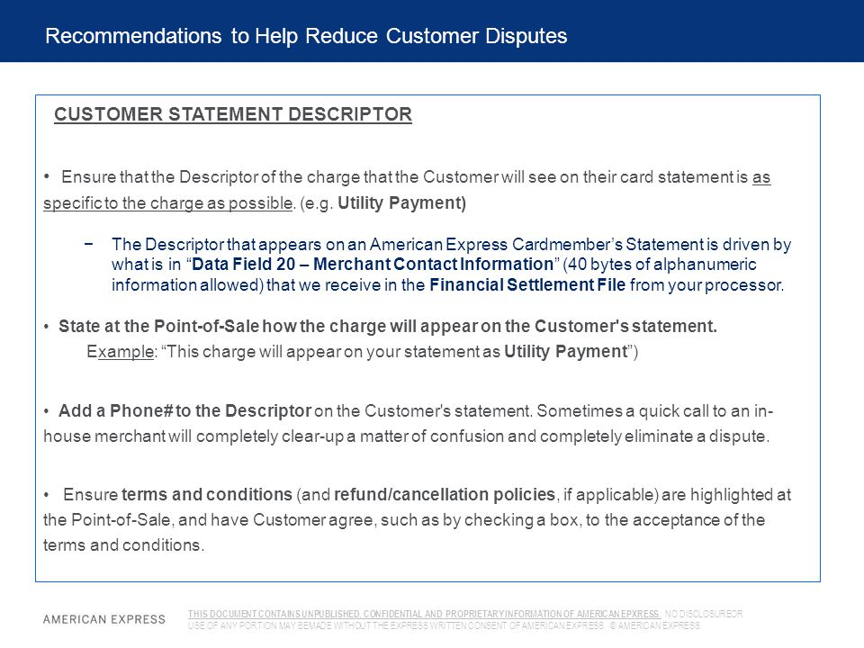 Recommendations to Help Reduce Customer Disputes