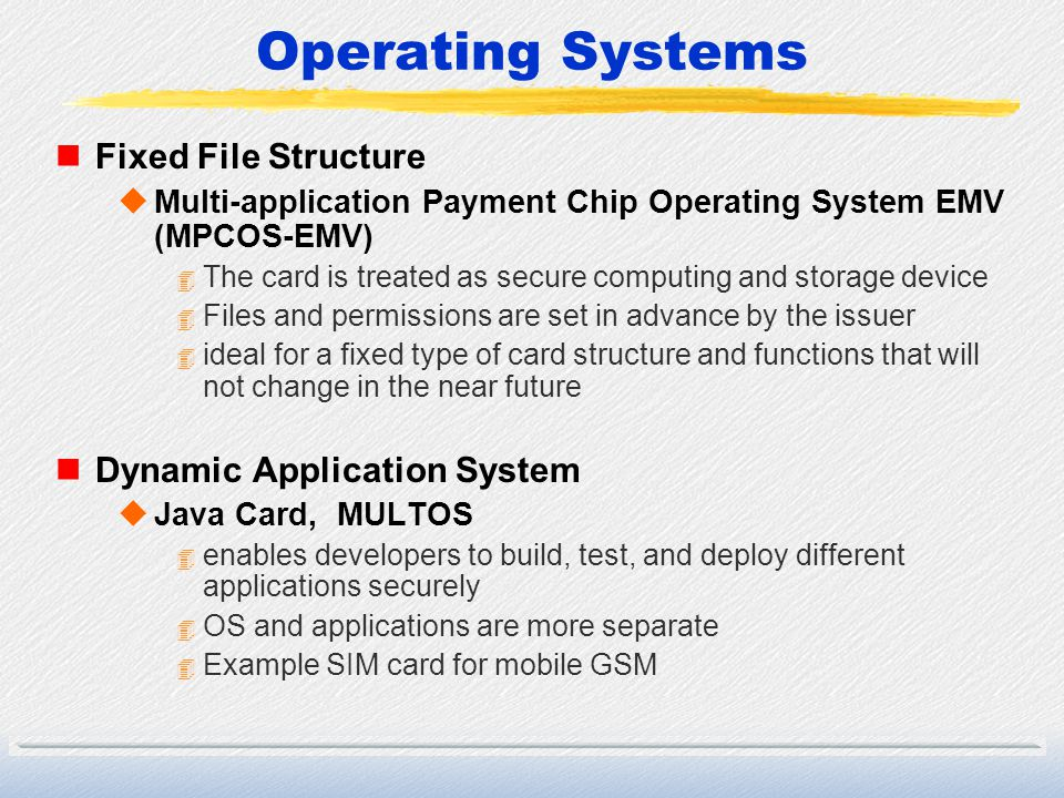 Operating Systems Fixed File Structure Dynamic Application System