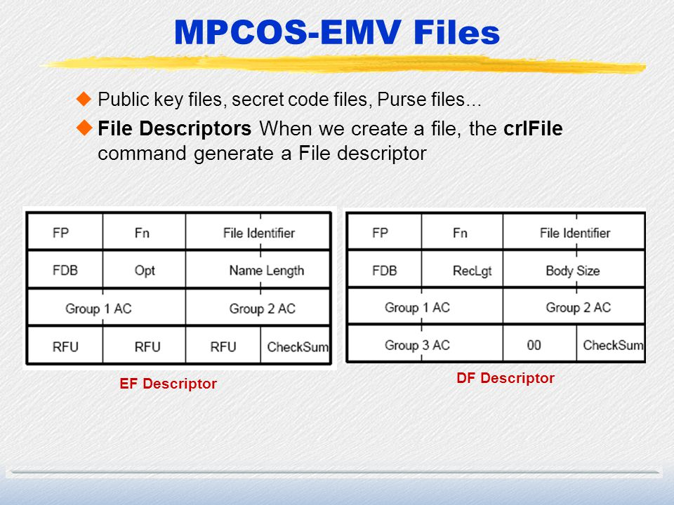 MPCOS-EMV Files Public key files, secret code files, Purse files...
