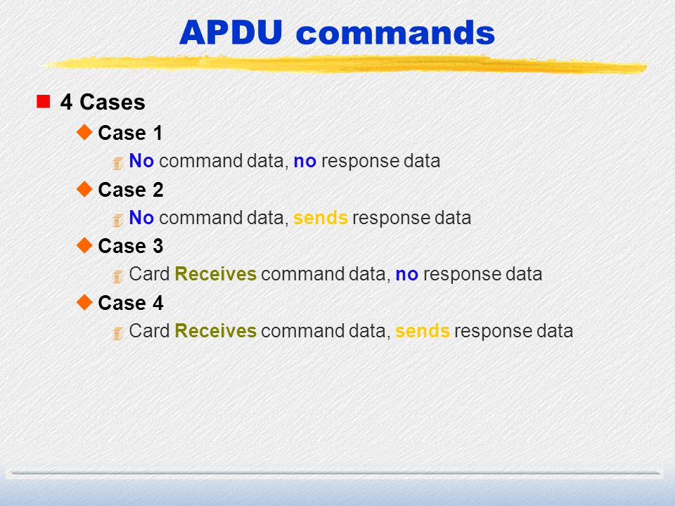 APDU commands 4 Cases Case 1 Case 2 Case 3 Case 4