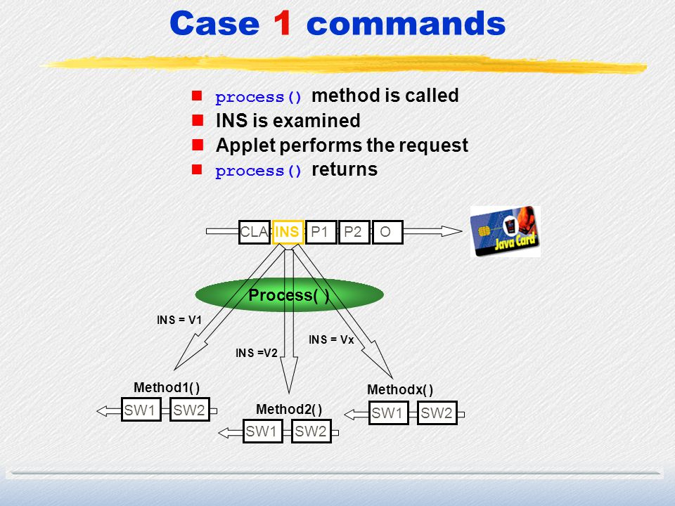 Case 1 commands INS is examined Applet performs the request