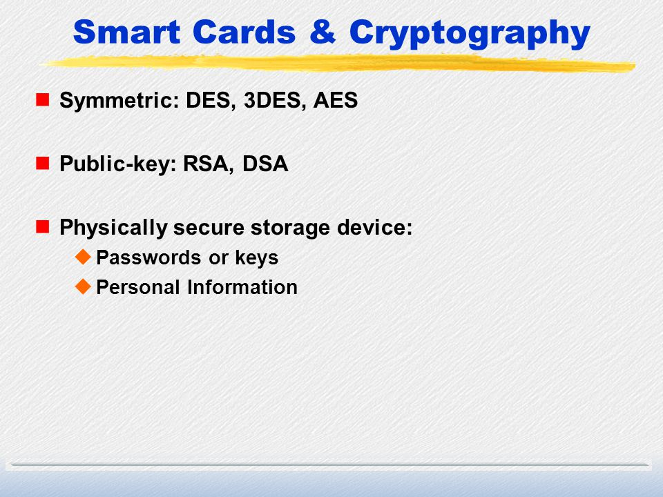 Smart Cards & Cryptography