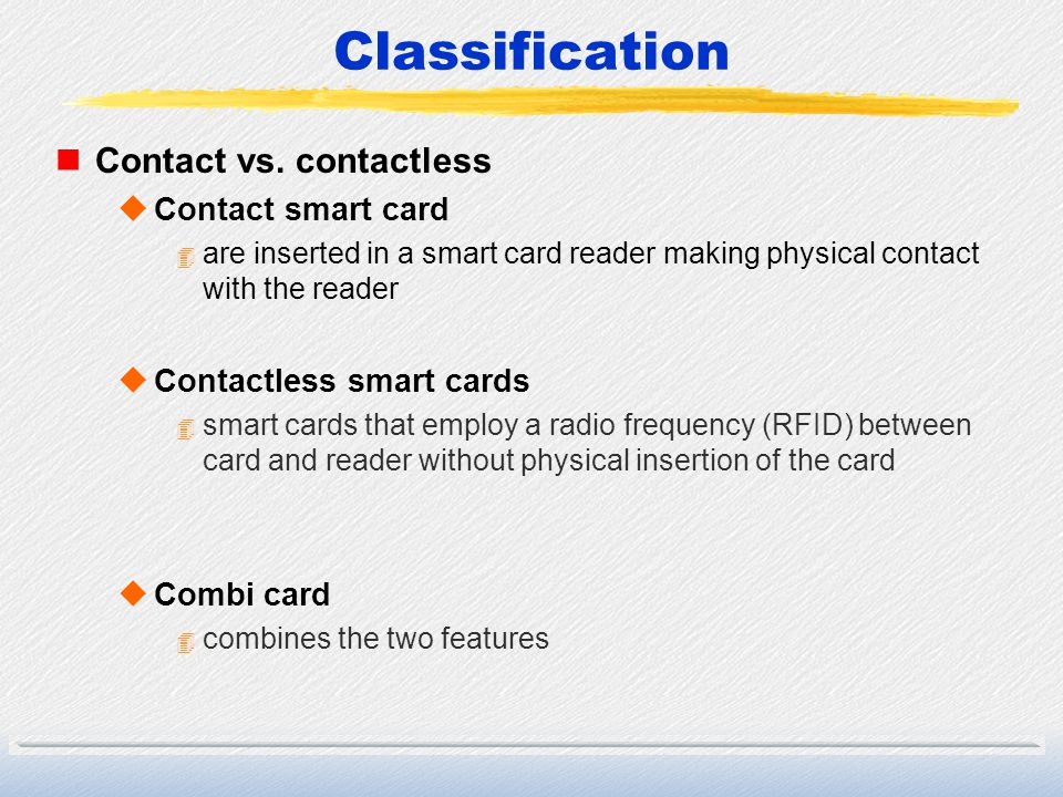 Classification Contact vs. contactless Contact smart card