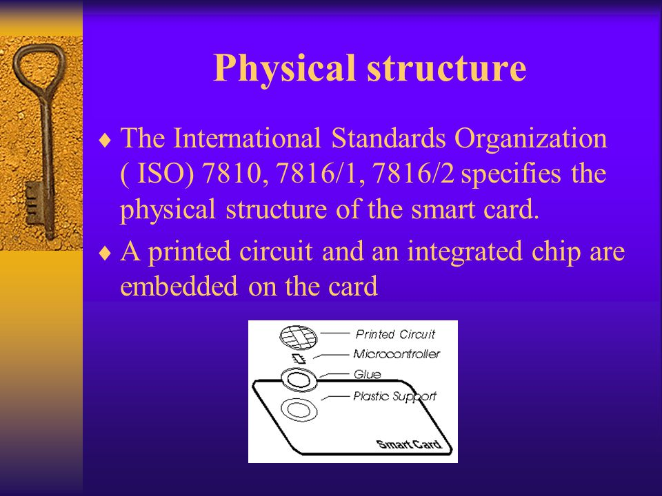 Physical structure The International Standards Organization ( ISO) 7810, 7816/1, 7816/2 specifies the physical structure of the smart card.