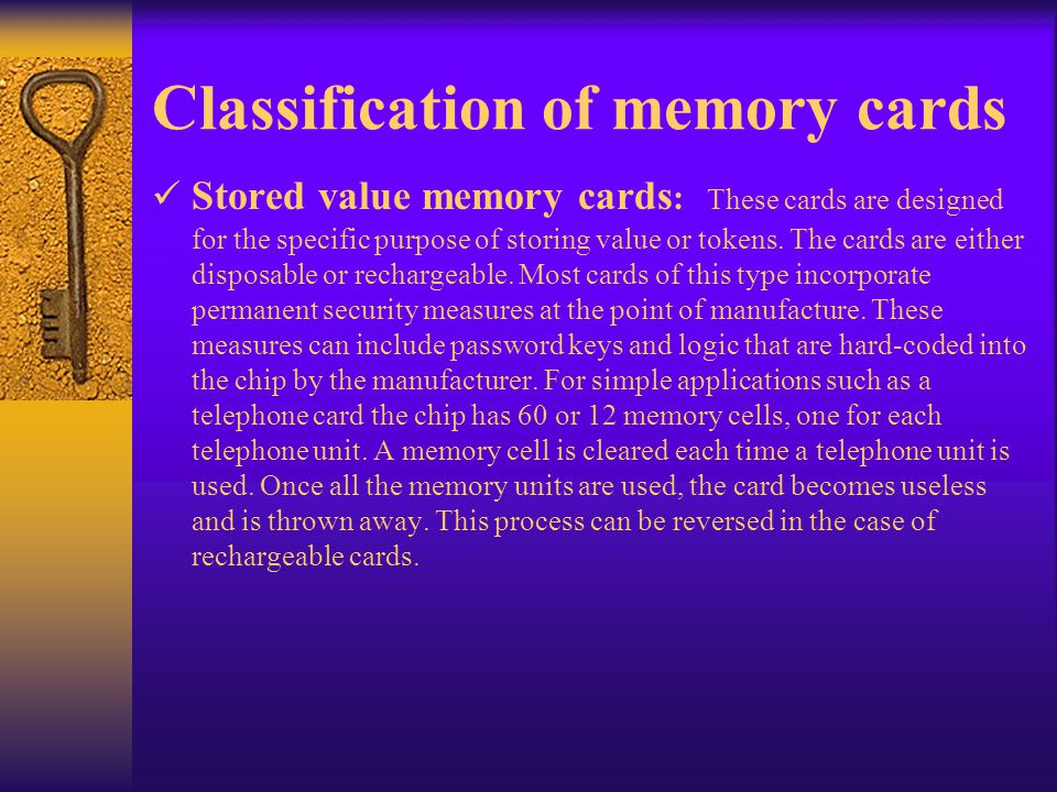 Classification of memory cards