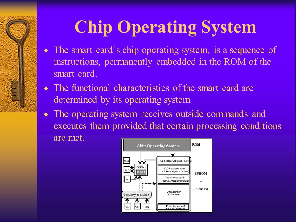 Chip Operating System The smart card's chip operating system, is a sequence of instructions, permanently embedded in the ROM of the smart card.