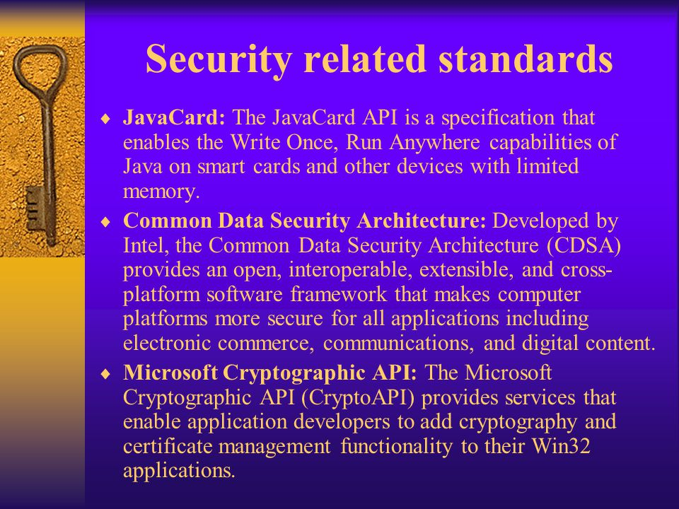 Security related standards