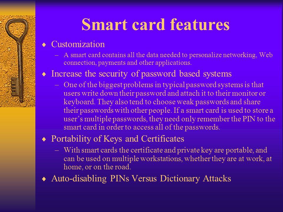 Smart card features Customization