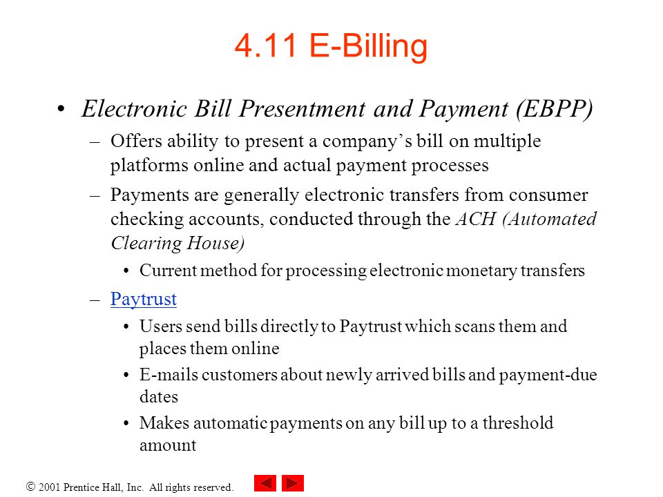 4.11 E-Billing Electronic Bill Presentment and Payment (EBPP)