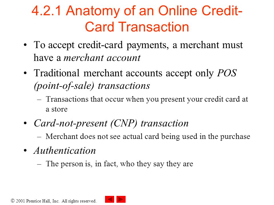 4.2.1 Anatomy of an Online Credit-Card Transaction
