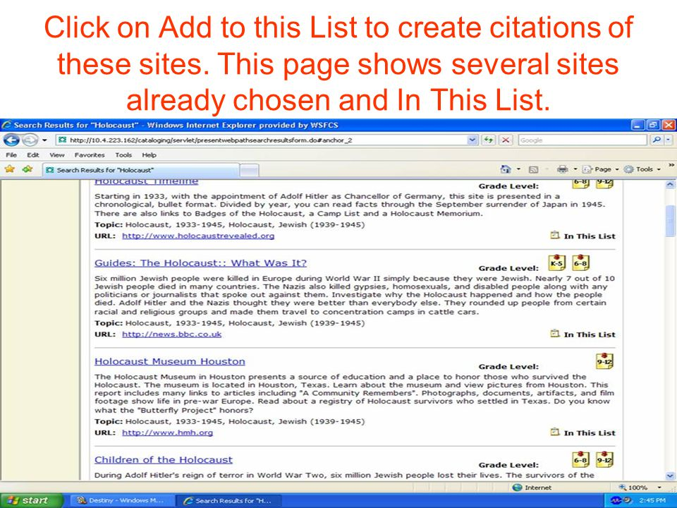 Click on Add to this List to create citations of these sites