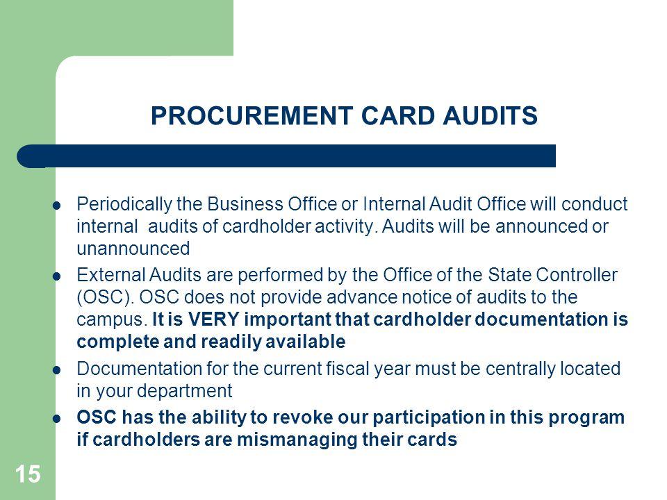 PROCUREMENT CARD AUDITS