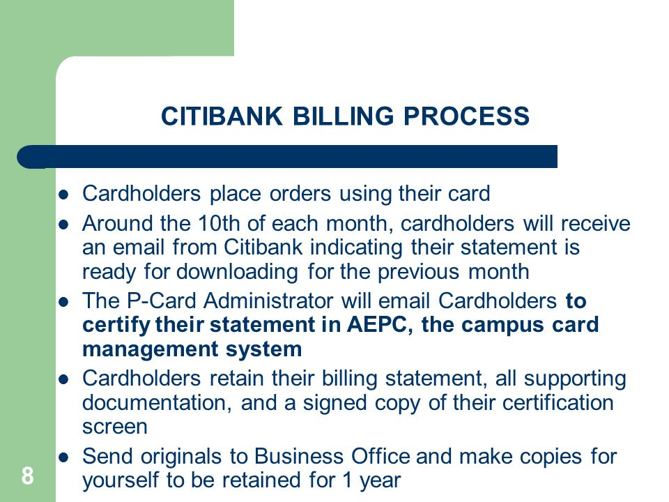 CITIBANK BILLING PROCESS