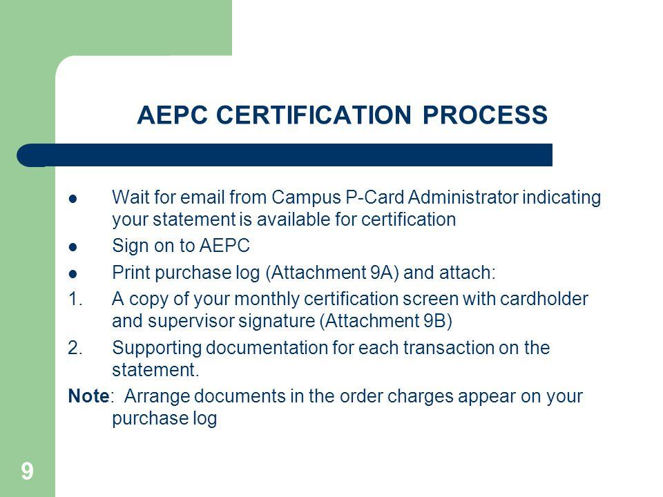 AEPC CERTIFICATION PROCESS