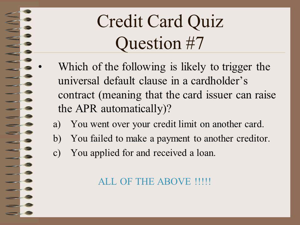 Credit Card Quiz Question #7