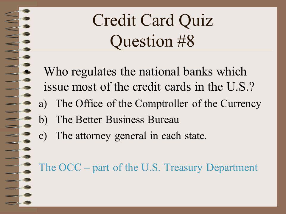 Credit Card Quiz Question #8