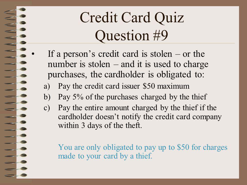 Credit Card Quiz Question #9