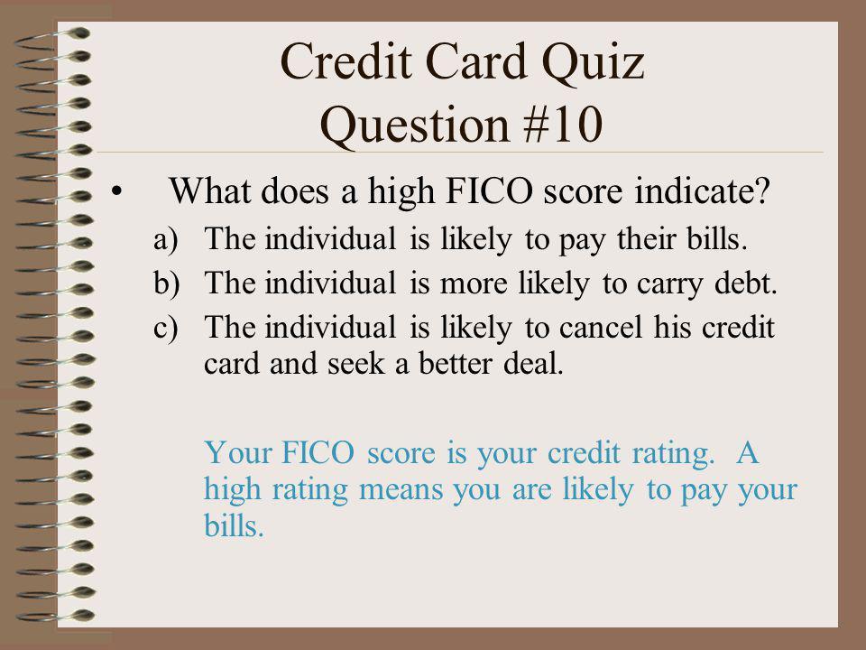 Credit Card Quiz Question #10
