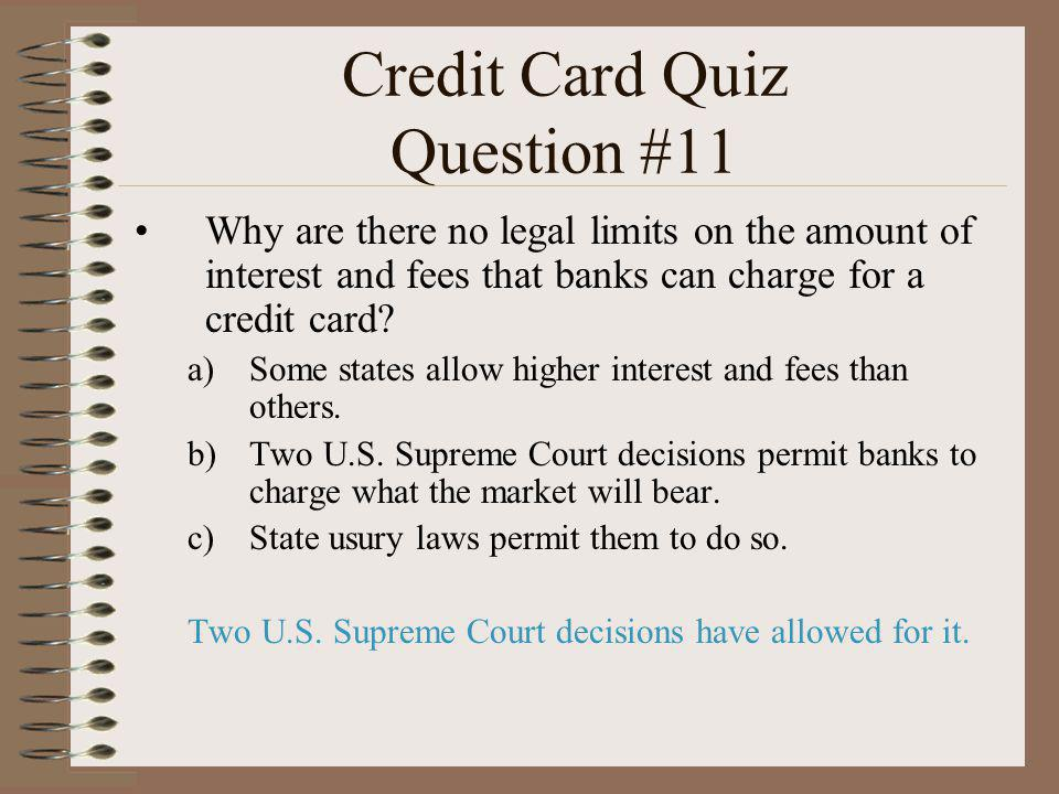 Credit Card Quiz Question #11