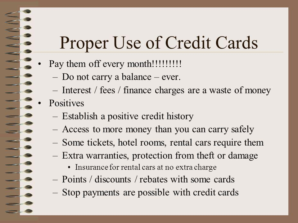 Proper Use of Credit Cards