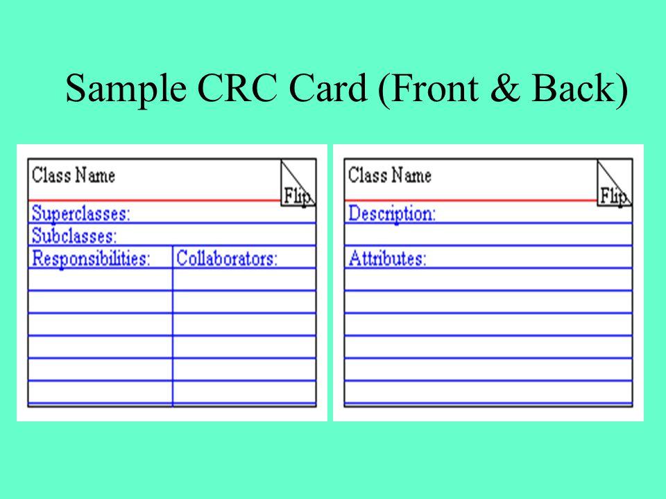 Sample CRC Card (Front & Back)