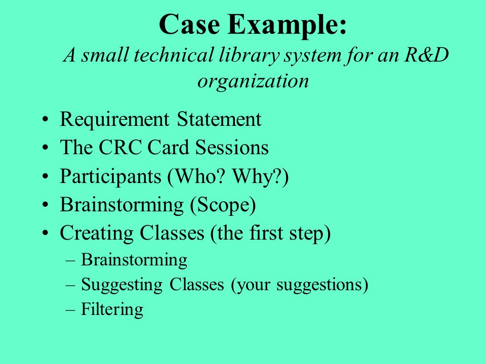 Case Example: A small technical library system for an R&D organization