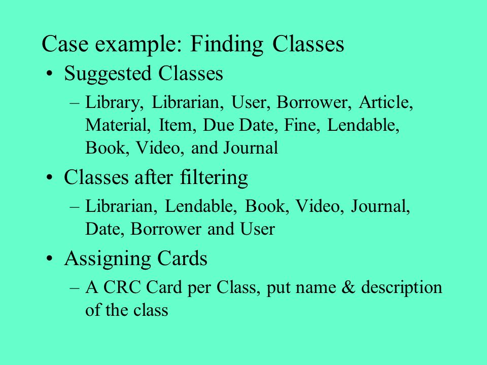 Case example: Finding Classes
