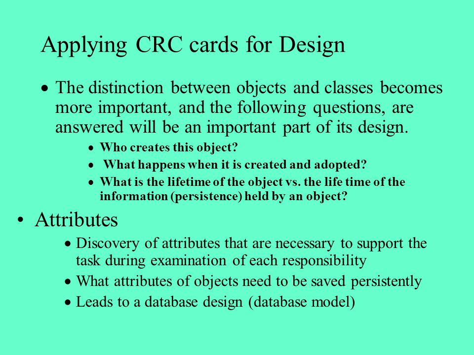 Applying CRC cards for Design