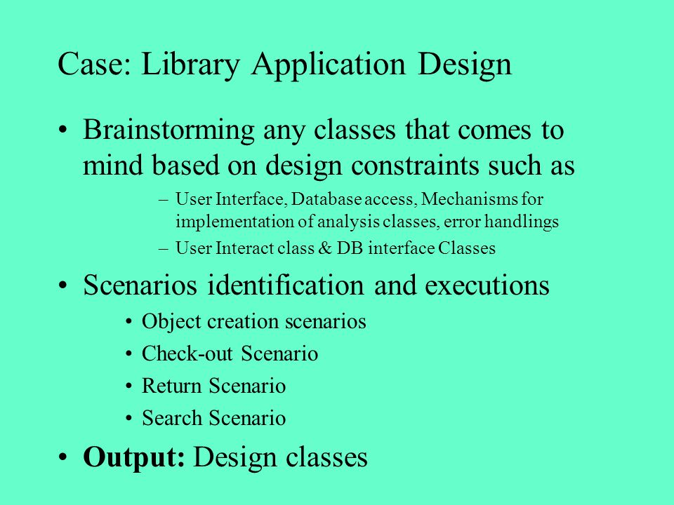 Case: Library Application Design