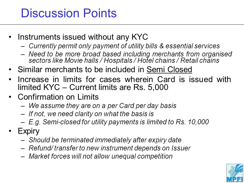 Discussion Points Instruments issued without any KYC