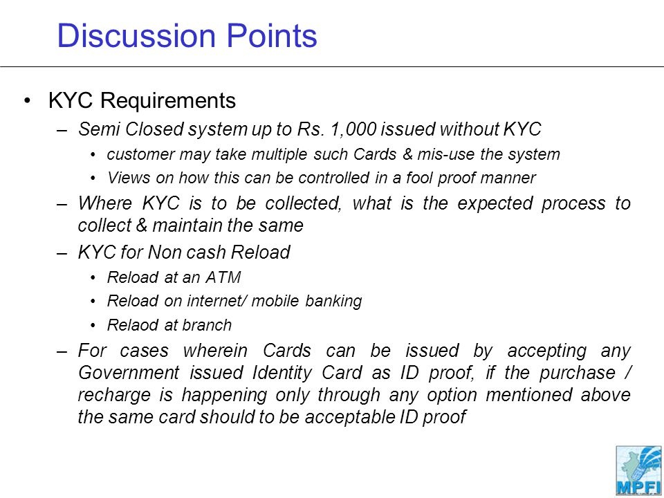 Discussion Points KYC Requirements